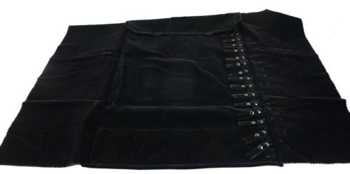 "Deluxe Black Velvet Short Chain Roll Necklace Storage Organizer 16 snaps 15"" New"