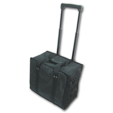 Large Rolling Jewelry Case Black Canvas Pull Out Handle Wheels Display Hold Tray