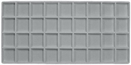 Display Gray Flocked Full Tray Liner Insert Jewelry Showcase 36 Slot Compartment