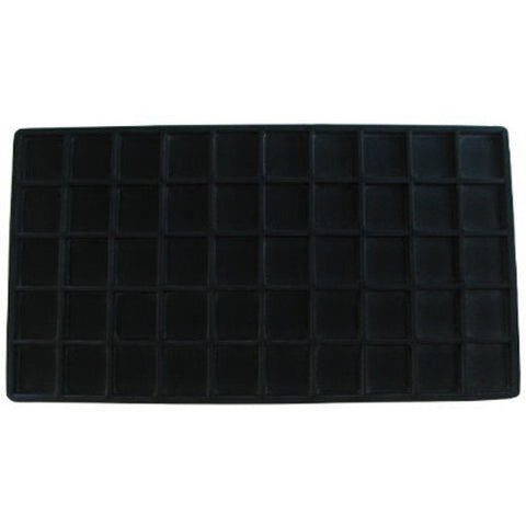 Display Black Flocked Tray Liner Insert Jewelry Showcase 50 Slot Compartment