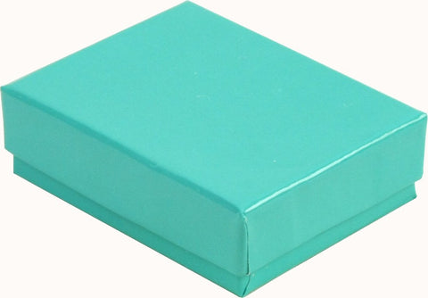 100 Pc Teal Foil Cotton Filled#32 Jewelry Boxes Sz 3 1/4''Lx2 1/4''Wx1''H