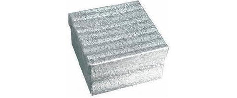 100Pc Silver Foil Cotton Box Filled #34 Jewelry Boxes Sz 3 3/4''Lx3 3/4''Wx2''H