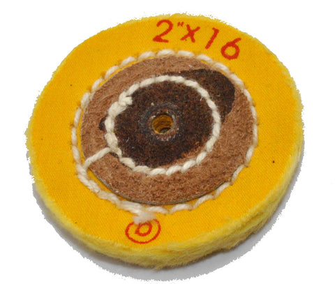 "Yellow Treated Chemkote Buffing Wheel 2""x 16 Ply"