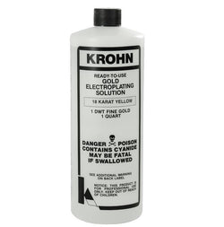 Krohn Electroplating 18K Yellow Gold Plating Solutions 1 Quart 1 DWT Penny Weight