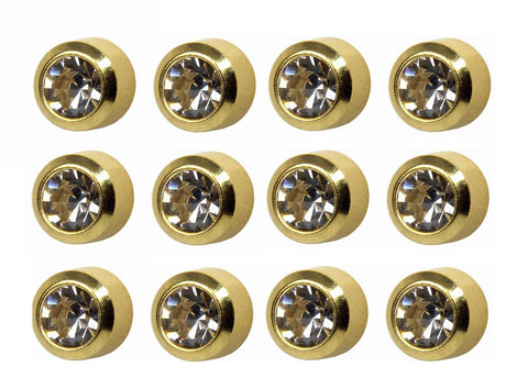 Surgical Large 5mm Ear piercing Earrings studs 12 pair April Diamond Gold Metal