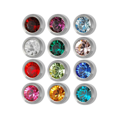 Surgical Steel 4mm Ear piercing Earrings studs 12 pair Mixed Colors White Metal