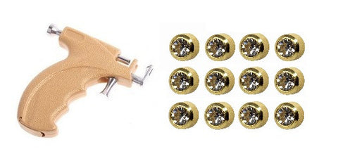 Caflon Gun Kit Mini 3mm Ear piercing Earrings studs 12 pair April Diamond Gold Metal