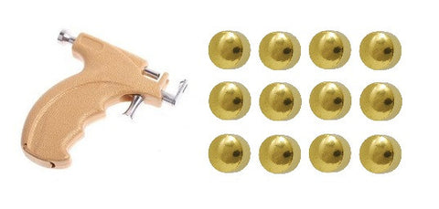 Gun Kit Gold Plated 4mm Ear piercing Earrings studs 12 pair Gold Earring Studs