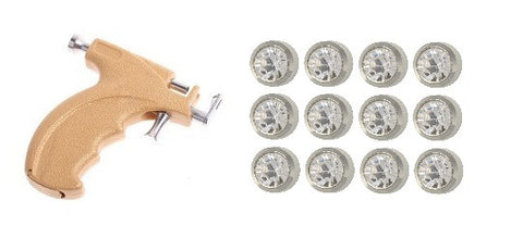 Gun Kit Mini 3mm Ear piercing Earrings studs 12 pair April Diamond White Metal