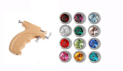 Caflon Gun Kit Steel 4mm Ear piercing Earrings studs 12 pair Mixed Colors White Metal