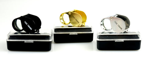 Set of 3 Jewelry Loupes (10X 18mm) Black, Gold, Silver