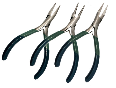 "3pc Set Box Joint Set 5"" 127MM Pliers Round Chain Flat Nose Green Blue Grip PVC"