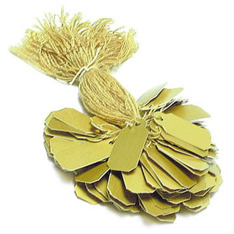 "Gold String Tags 100 Pieces Size 5/16"" x 3/4"""
