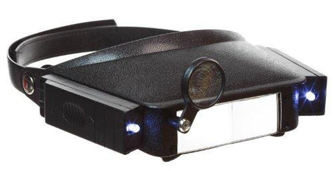 Head Magnifier Hands Free Visor with Lights &  2 Lens Plates