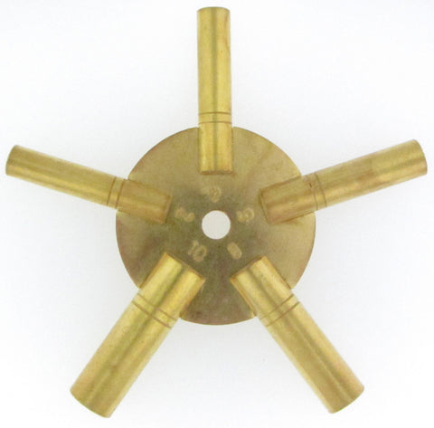 Brass Universal Clock Key 5 Prong Even Numbers