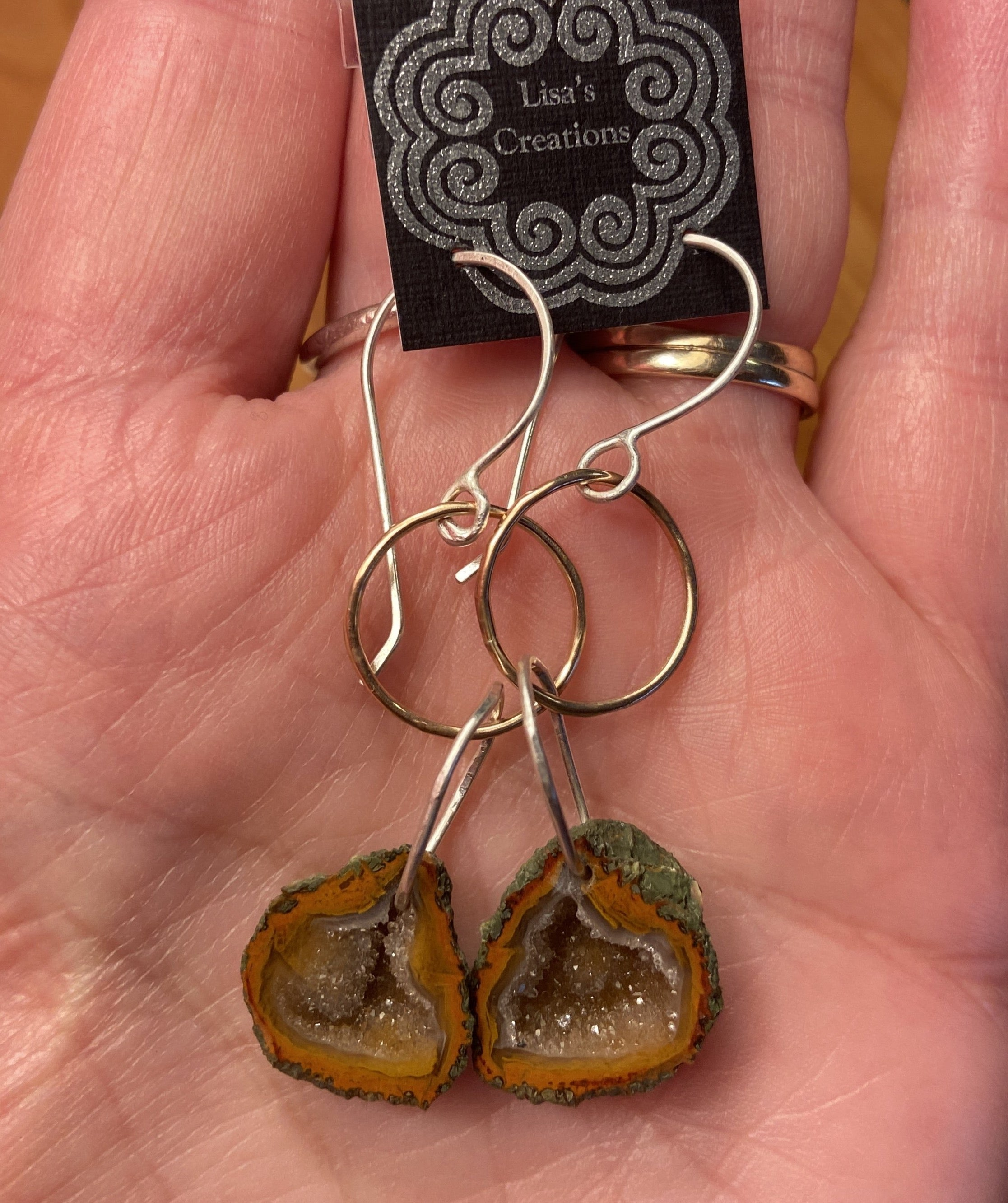 Rust Geode Loop Earrings