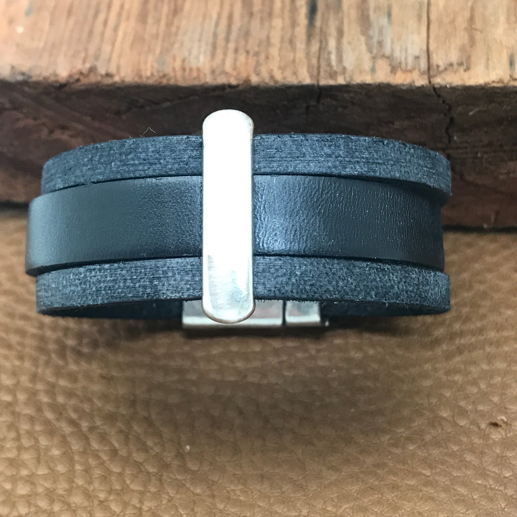 Wide Leather Three Strand Bracelets