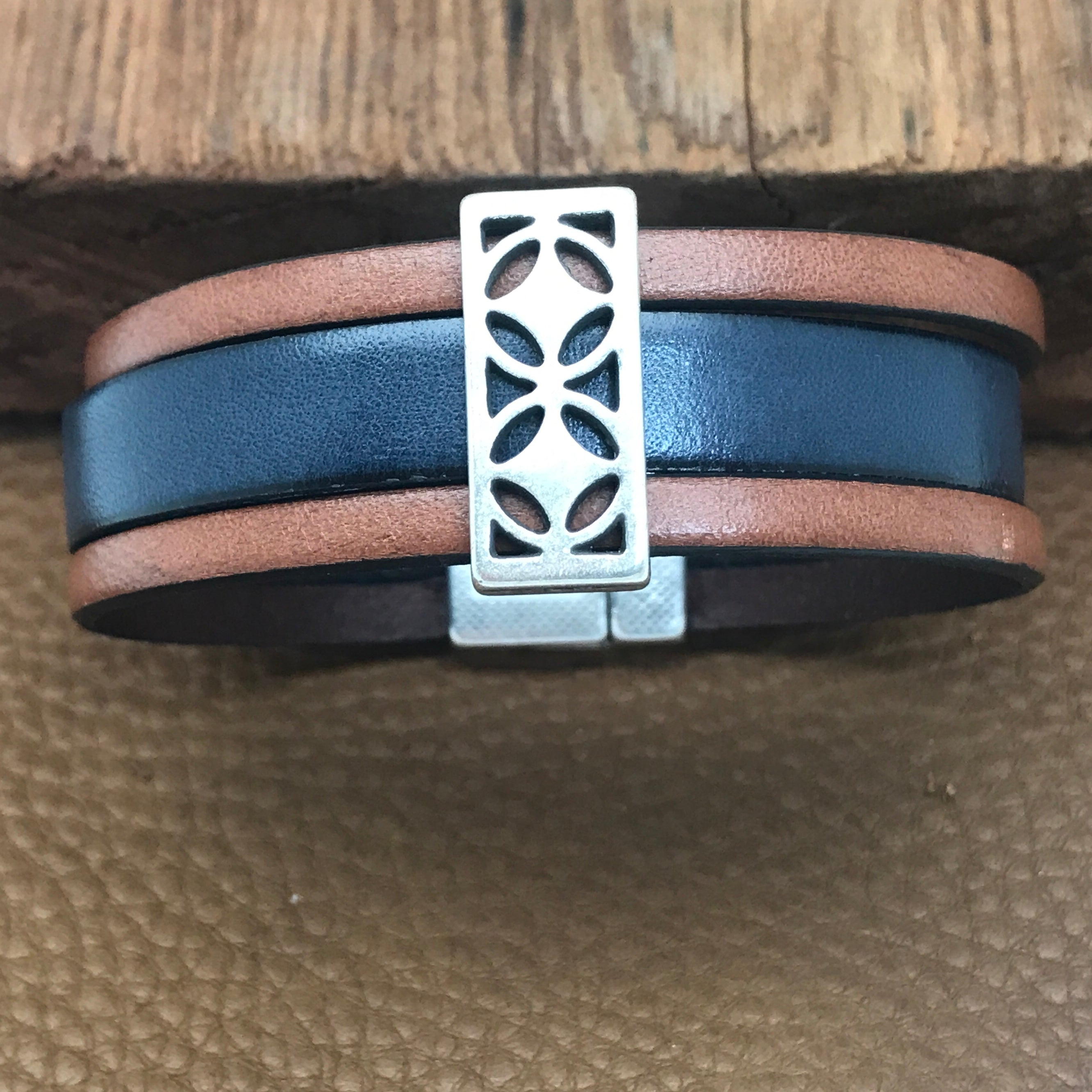Blue Leather Three Strand Bracelets