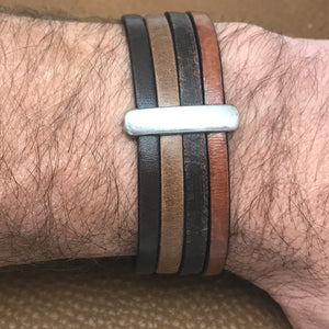 Wide Leather Four Strand Bracelets
