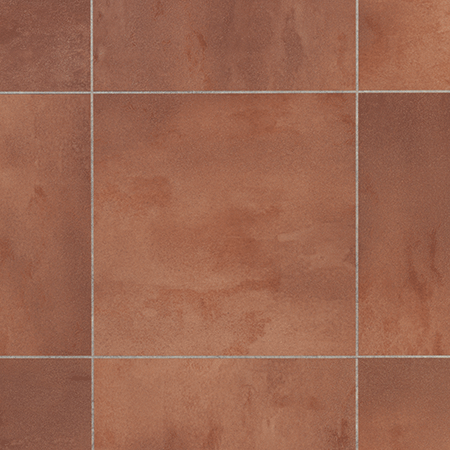 Close up of Karndean Knight Tile TC08 Fired Clay Terracotta Flooring laid straight with DS12 3mm Concrete stripping.