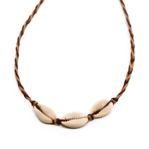 Cowrie Braided String Necklace