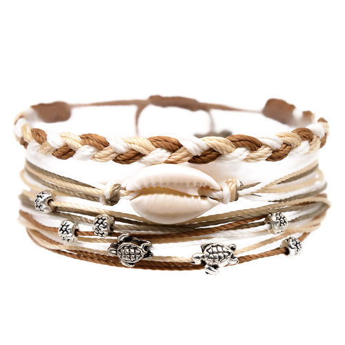 cowrie shell sea turtle beads string bracelet