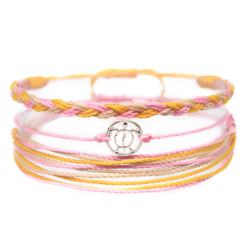 pink orange sea turtle string bracelet stack
