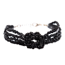 Load image into Gallery viewer, womens black beaded knot bracelet