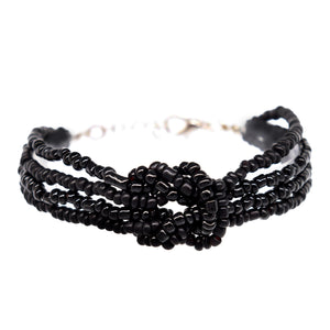womens black beaded knot bracelet
