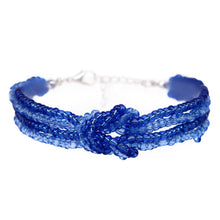 Load image into Gallery viewer, womens blue beaded knot bracelet