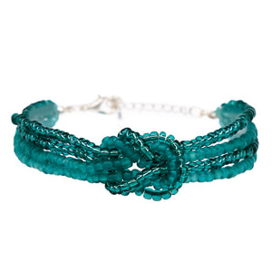 womens green beaded knot bracelet