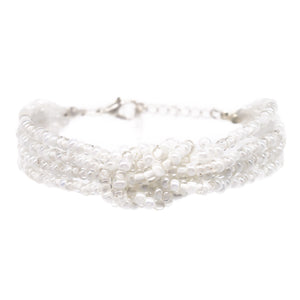 womens white beaded knot bracelet