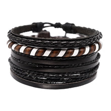 Load image into Gallery viewer, mens leather bracelet stack, jewelry for surfers, guys bracelets