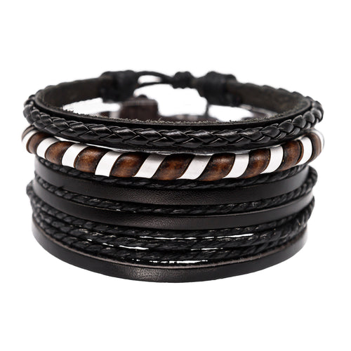 mens leather bracelet stack, jewelry for surfers, guys bracelets