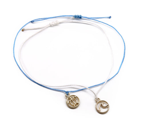 wave and sea turtle charm string bracelets for girls