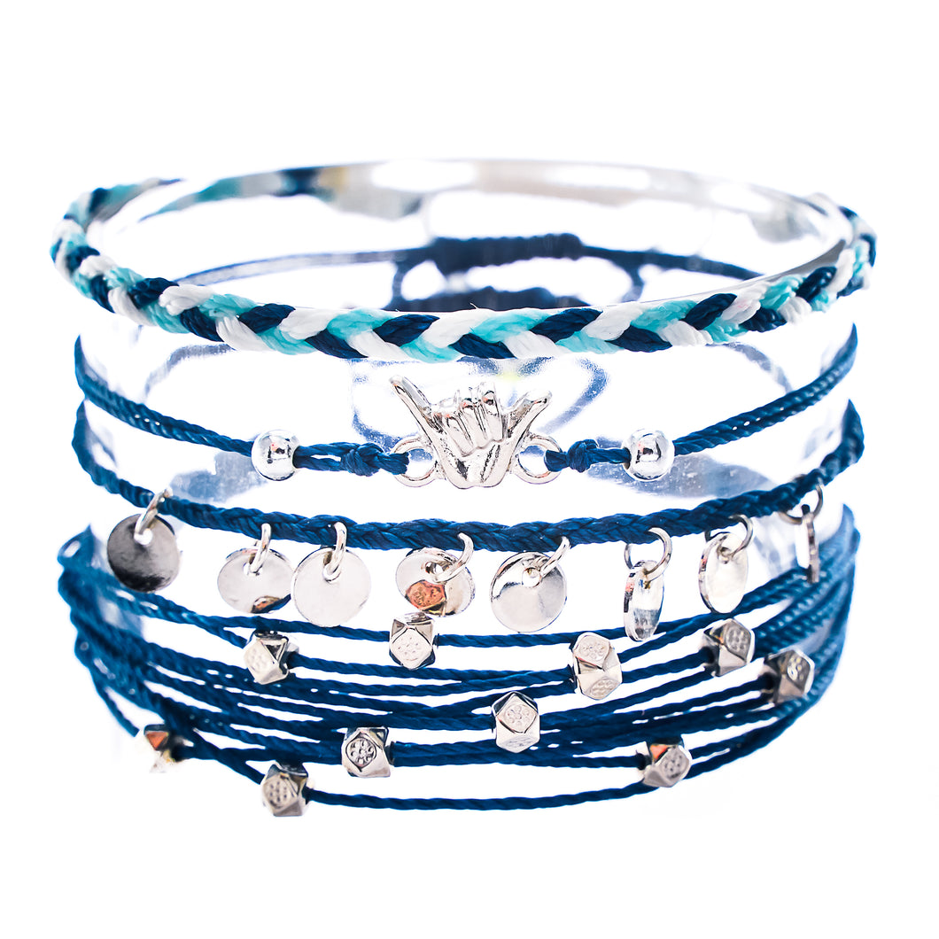 blue shaka hang loose string bracelet stack