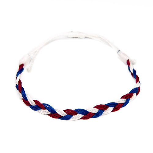 red white blue america braided string bracelet