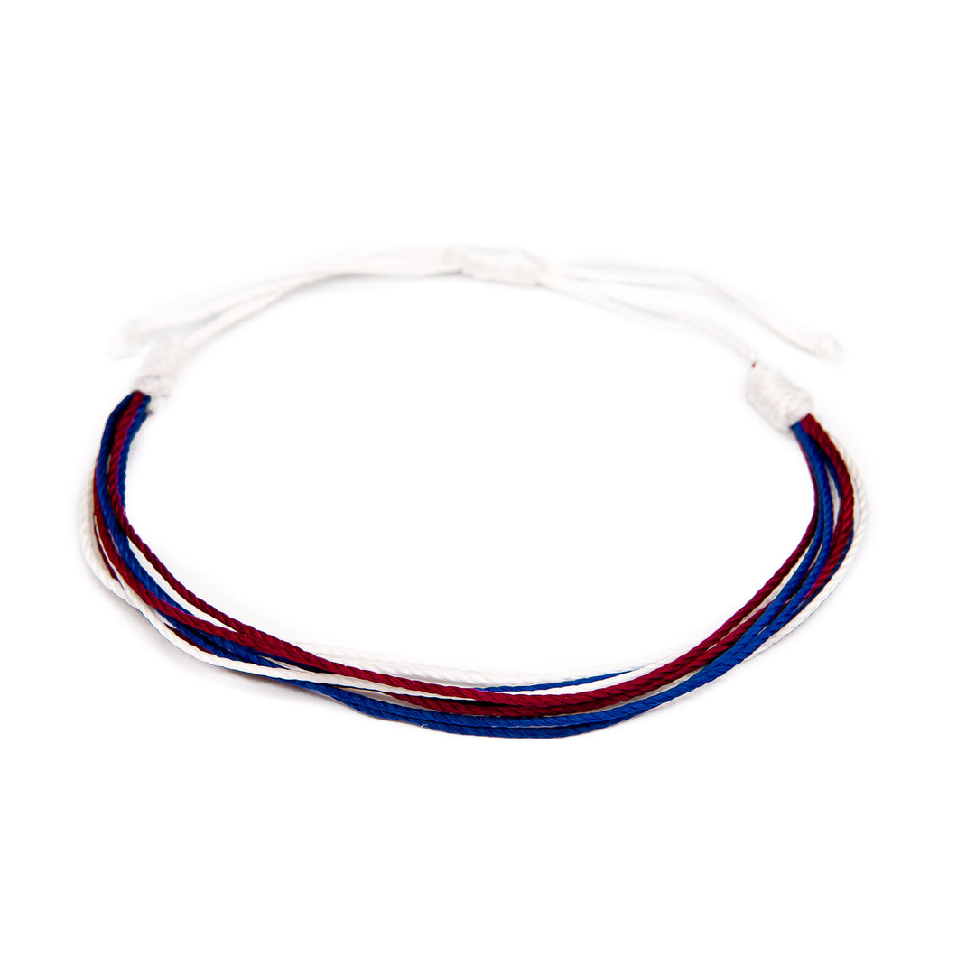 red white blue american colors string bracelet