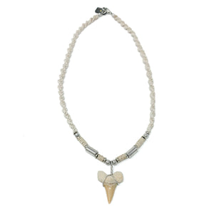 tan braided mens sharks tooth necklace