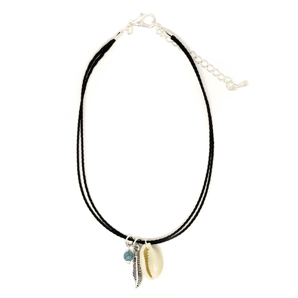 cowrie feather dream tribal anklet