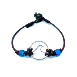 simple wave pendant leather surfer bracelet