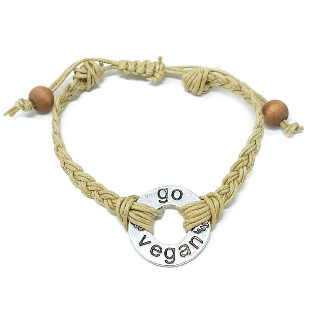 go vegan braided bracelet