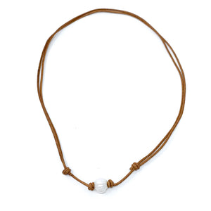 single pearl tan choker necklace