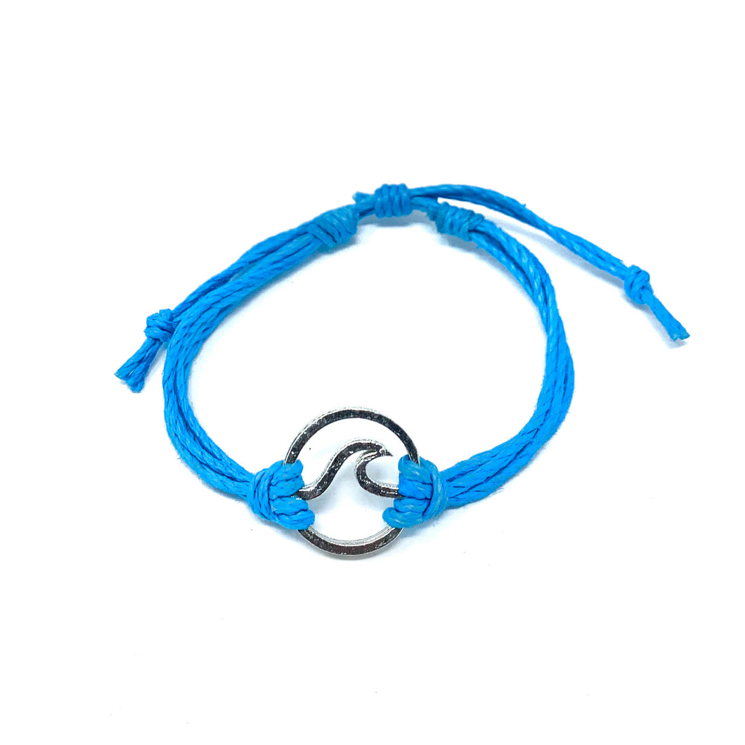 wave blue string bracelet
