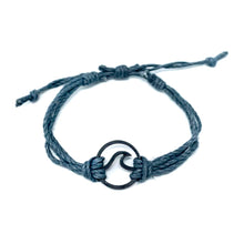 Load image into Gallery viewer, grey black wave pura vida string bracelet