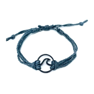 grey black wave pura vida string bracelet
