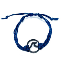 Load image into Gallery viewer, blue black wave pura vida string bracelet