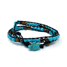 Load image into Gallery viewer, turquoise and tiger eye turtle double wrap bracelet