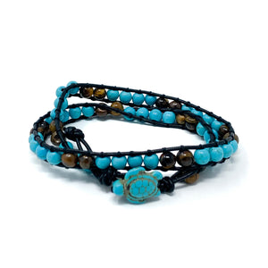 turquoise and tiger eye turtle double wrap bracelet