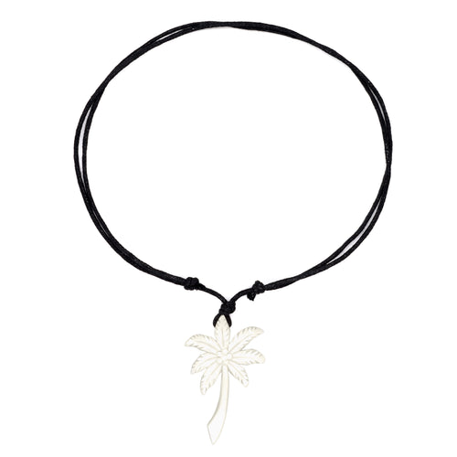 charming shark palm tree bone necklace